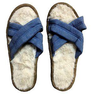 NWT Hanes Women's Crisscross Slide Slippers Blue